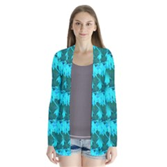 Coconut Palm Trees Blue Green Sea Small Print Drape Collar Cardigan
