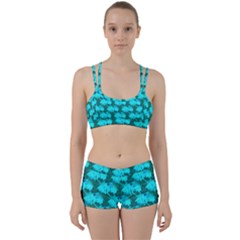 Coconut Palm Trees Blue Green Sea Small Print Women s Sports Set