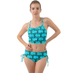 Coconut Palm Trees Blue Green Sea Small Print Mini Tank Bikini Set