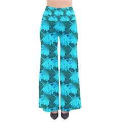 Coconut Palm Trees Blue Green Sea Small Print Women s Chic Palazzo Pants