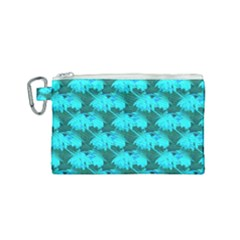 Coconut Palm Trees Blue Green Sea Small Print Canvas Cosmetic Bag (small)