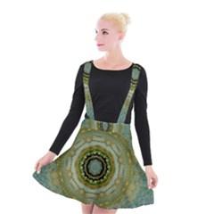 Modern Fantasy Rococo Flower And Lilies Suspender Skater Skirt