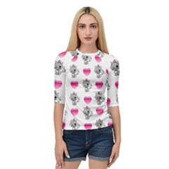 Evil Sweetheart Kitty Quarter Sleeve Raglan Tee