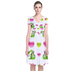 Dragons And Hearts Short Sleeve Front Wrap Dress