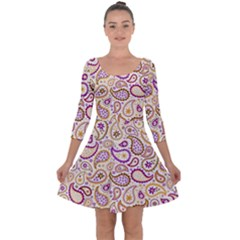 Damascus Image Purple Background Quarter Sleeve Skater Dress