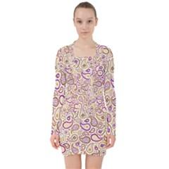 Damascus Image Purple Background V Neck Bodycon Long Sleeve Dress
