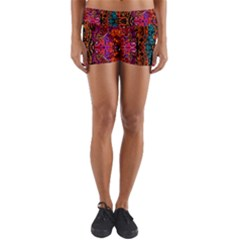 Retro Multi Colors Pattern Created By Flipstylez Designs Yoga Shorts