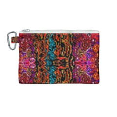 Retro Multi Colors Pattern Created By Flipstylez Designs Canvas Cosmetic Bag (medium) by flipstylezdes