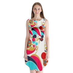 Retro Colorful Colors Splashes Sleeveless Chiffon Dress