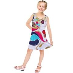 Retro Colorful Colors Splashes Kids  Tunic Dress
