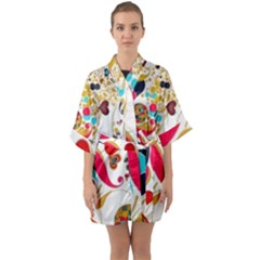 Retro Colorful Colors Splashes Quarter Sleeve Kimono Robe