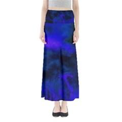 Abstract Blue Full Length Maxi Skirt