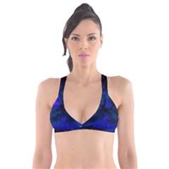 Abstract Blue Plunge Bikini Top