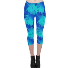 Coconut Palm Trees Ocean Blue Capri Leggings