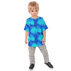 Coconut Palm Trees Ocean Blue Kids Raglan Tee