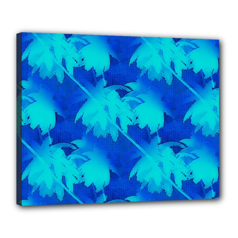 Coconut Palm Trees Ocean Blue Canvas 20  X 16