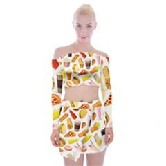 53356631 L Off Shoulder Top With Mini Skirt Set