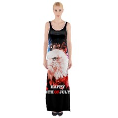 Independence Day, Eagle With Usa Flag Maxi Thigh Split Dress by FantasyWorld7