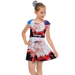 Independence Day, Eagle With Usa Flag Kids Cap Sleeve Dress by FantasyWorld7