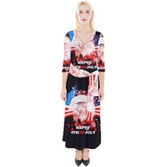 Independence Day, Eagle With Usa Flag Quarter Sleeve Wrap Maxi Dress