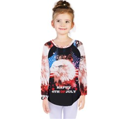 Independence Day, Eagle With Usa Flag Kids  Long Sleeve Tee