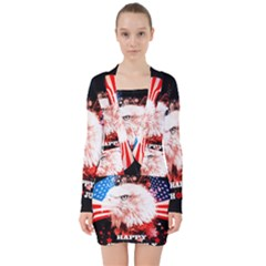 Independence Day, Eagle With Usa Flag V Neck Bodycon Long Sleeve Dress by FantasyWorld7