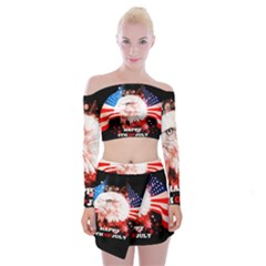 Independence Day, Eagle With Usa Flag Off Shoulder Top With Mini Skirt Set