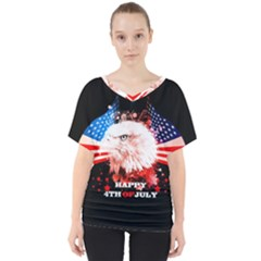 Independence Day, Eagle With Usa Flag V Neck Dolman Drape Top