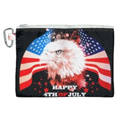 Independence Day, Eagle With Usa Flag Canvas Cosmetic Bag (xl) by FantasyWorld7