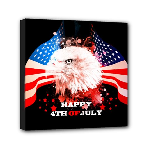 Independence Day, Eagle With Usa Flag Mini Canvas 6  X 6  by FantasyWorld7