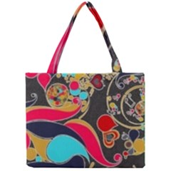 Retro Swirls In Black Mini Tote Bag by flipstylezdes