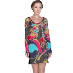 Retro Swirls In Black Long Sleeve Nightdress