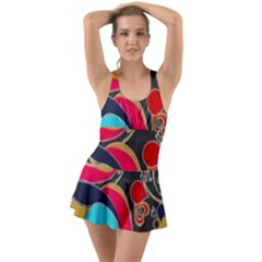 Retro Swirls In Black Ruffle Top Dress Swimsuit