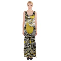 Gold Four Leaf Clover With Abstract Designs Maxi Thigh Split Dress