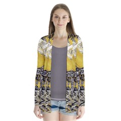 Gold Four Leaf Clover With Abstract Designs Drape Collar Cardigan