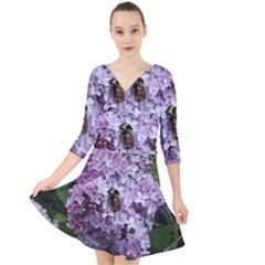 Lilac Bumble Bee Quarter Sleeve Front Wrap Dress