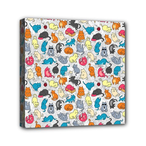 Funny Cute Colorful Cats Pattern Mini Canvas 6  X 6
