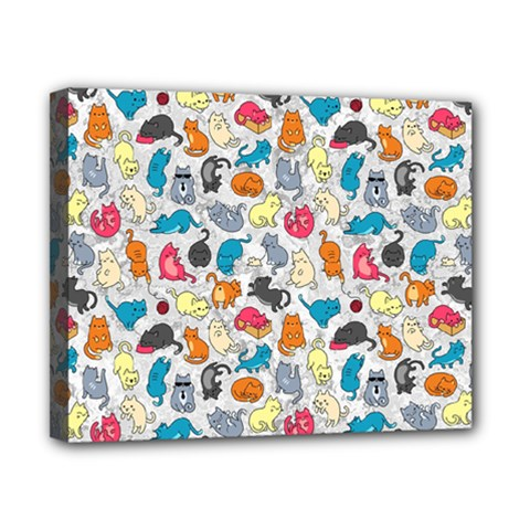 Funny Cute Colorful Cats Pattern Canvas 10  X 8