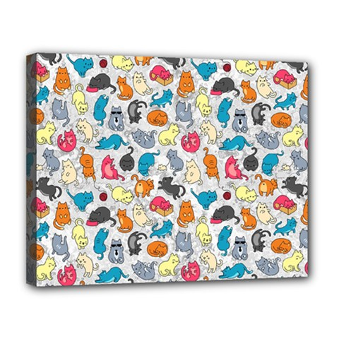 Funny Cute Colorful Cats Pattern Canvas 14  X 11