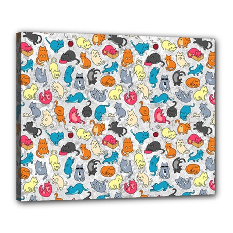 Funny Cute Colorful Cats Pattern Canvas 20  X 16