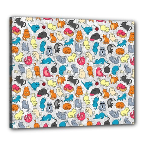 Funny Cute Colorful Cats Pattern Canvas 24  X 20