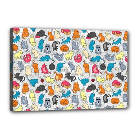 Funny Cute Colorful Cats Pattern Canvas 18  X 12