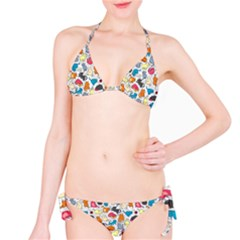 Funny Cute Colorful Cats Pattern Classic Bikini Set