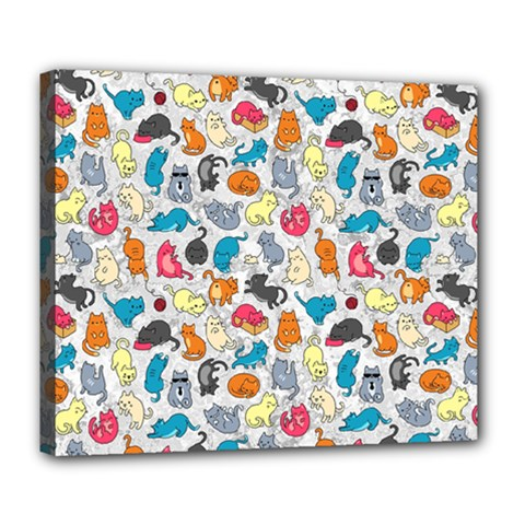 Funny Cute Colorful Cats Pattern Deluxe Canvas 24  X 20