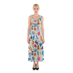 Funny Cute Colorful Cats Pattern Sleeveless Maxi Dress