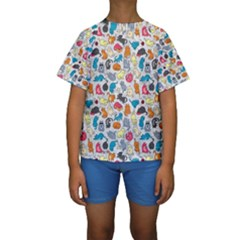 Funny Cute Colorful Cats Pattern Kids  Short Sleeve Swimwear