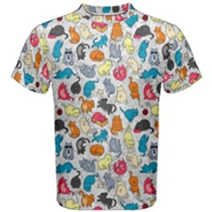 Funny Cute Colorful Cats Pattern Men s Cotton Tee