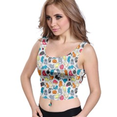 Funny Cute Colorful Cats Pattern Crop Top