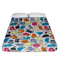 Funny Cute Colorful Cats Pattern Fitted Sheet (queen Size)