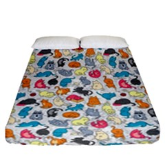 Funny Cute Colorful Cats Pattern Fitted Sheet (california King Size)